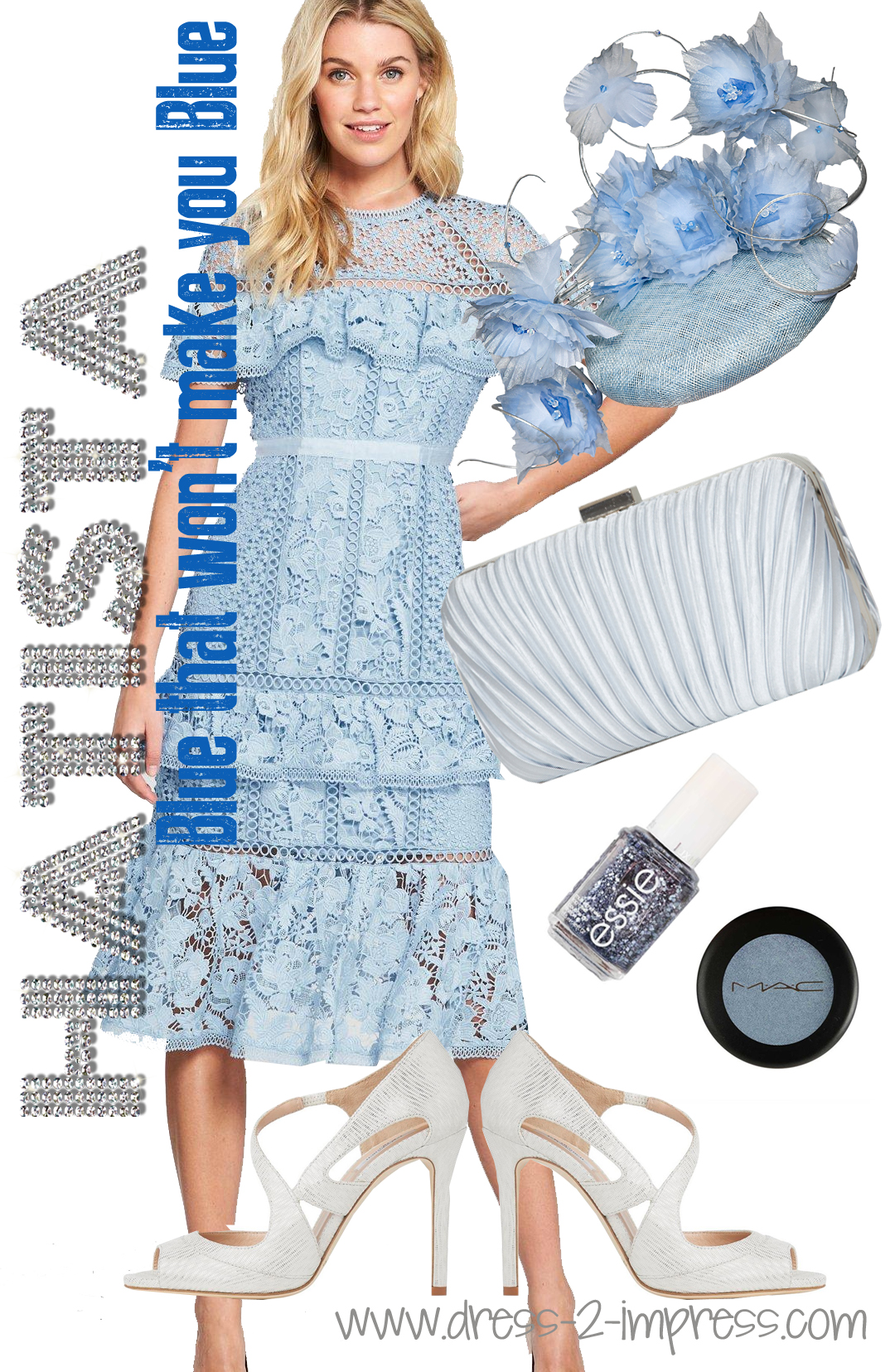 Baby Blue Lace Dress. Outfits with Pastel Blue. What to wear to the Kentucky Derby. Outfits for Royal Ascot. Pastel outfits for Melbourne Cup. What to wear to the Dubai World Cup - Need outfit inspiration for summer weddings? #blueoutfits #kentuckyderby #royalascot What to wear for a Day at the Races