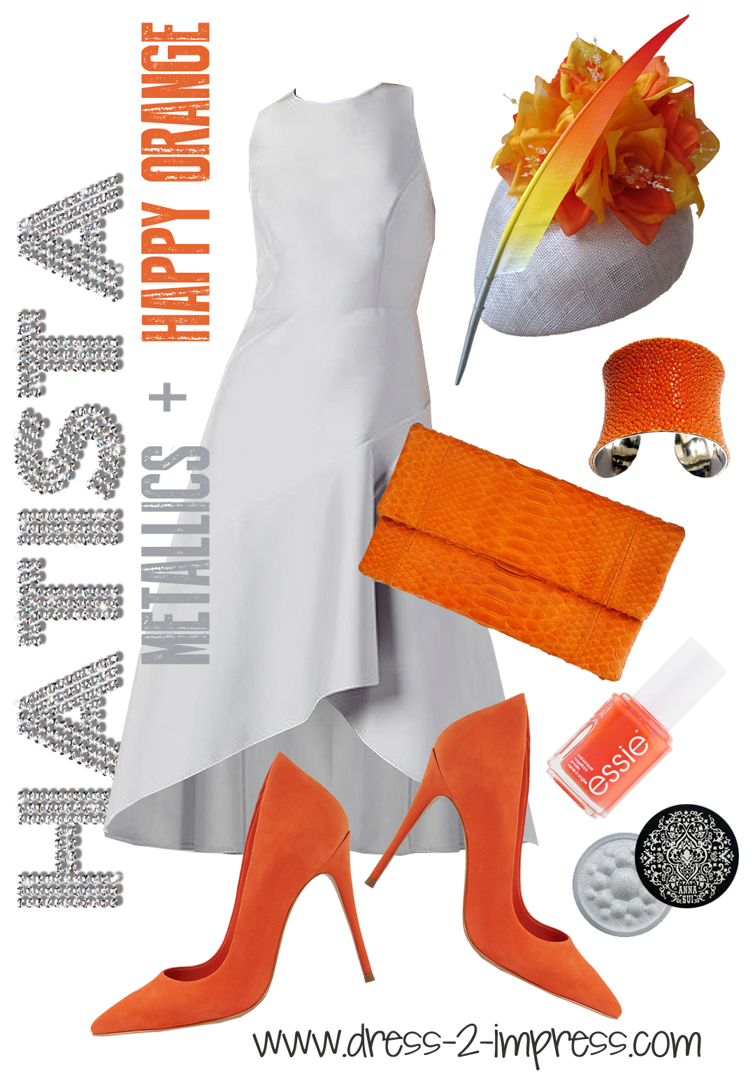 Outfit ideas for Royal Ascot, What to wear for Royal Ascot Ladies Day, Epsom Derby, or Summer Weddings. How to Wear Orange, from THE HATISTA www.dress-2-impress.com Outfit Ideas, Outfit Inspiration for the races