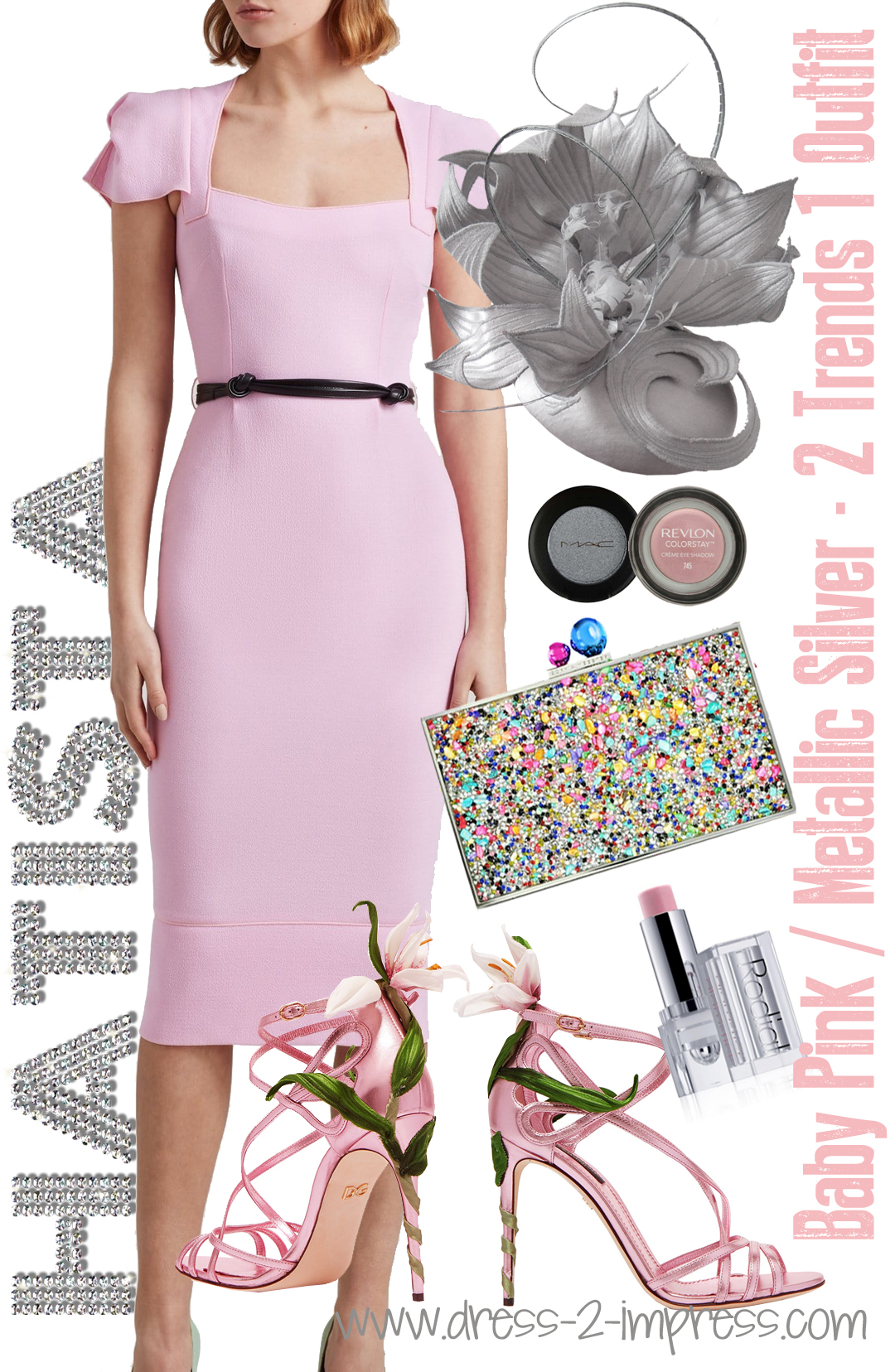 What to wear with Pink. What to wear with Baby Pink. What to wear with a Baby Pink Dress. How to Wear Pink - What to wear to the races. What to wear for Royal Ascot. Ladies day outfits. Outfit ideas for the Kentucky Oaks Day. Pink Mother of the Bride Outfits #wearpink #motherofthevride #fashion #metallics #silverhat #outfittips