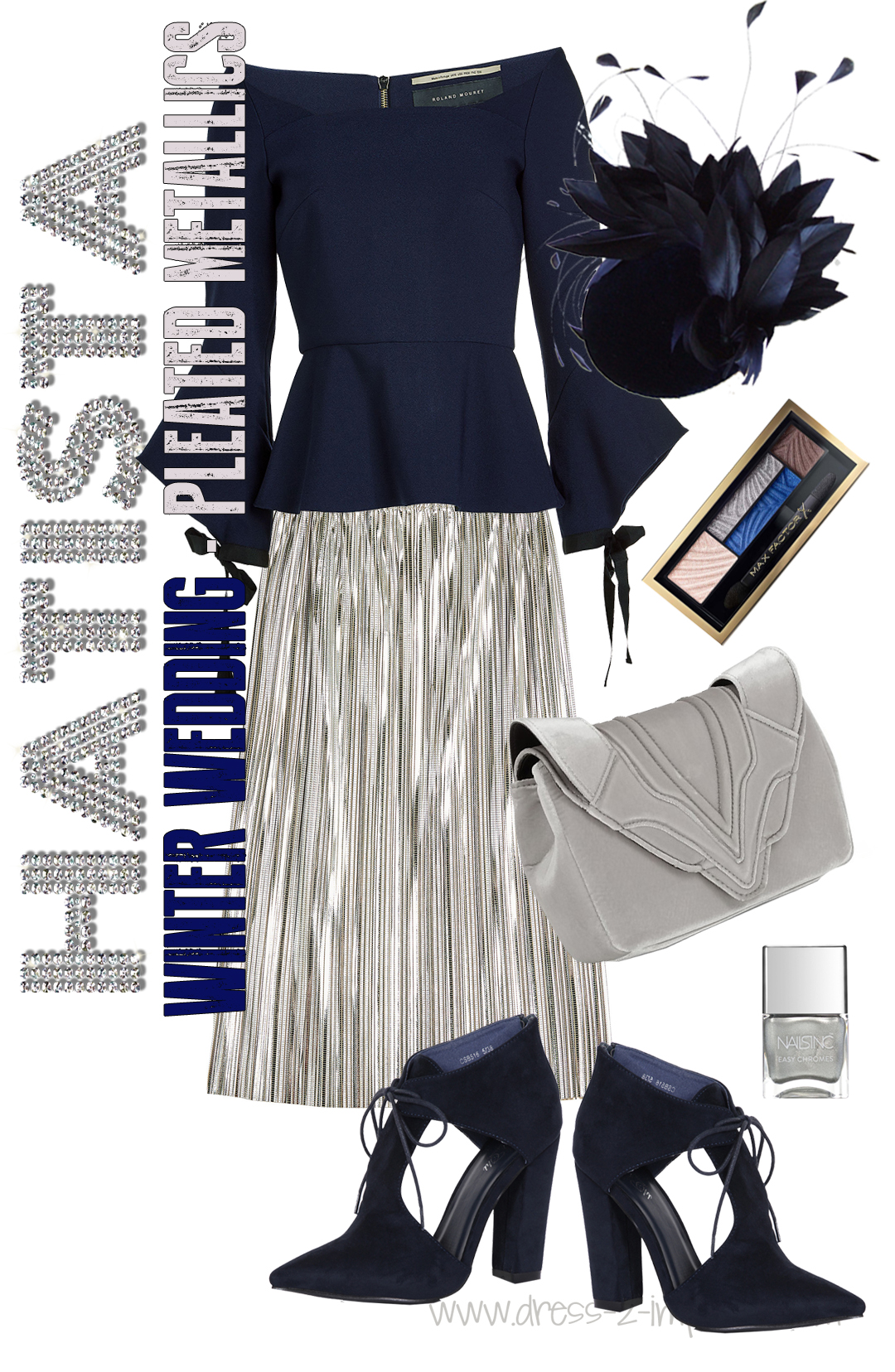 Winter Wedding Outfits for guests. Navy and Silver Outfit. What to wear to a christmas wedding. Winter wedding guest outfits. What to wear to a winter wedding. Silver Pleated Skirts #weddings